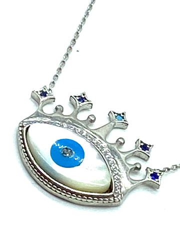 925 Sterling Silver Lucky Eye  Mother of Perl #9941