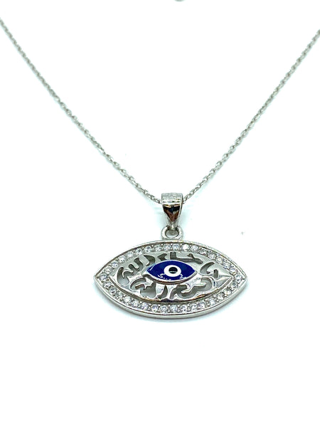 925 Sterling Silver Evil Eye Pendant & Necklace #9608
