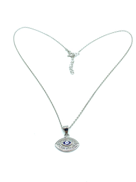 925 Sterling Silver Evil Eye Pendant & Necklace #9609
