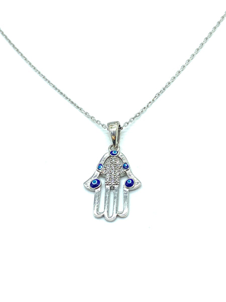 925 Sterling Silver Evil Eye Hamsa Charm Necklace  #9694