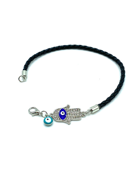 Evil Eye Hamsa Leather Bracelet #2945