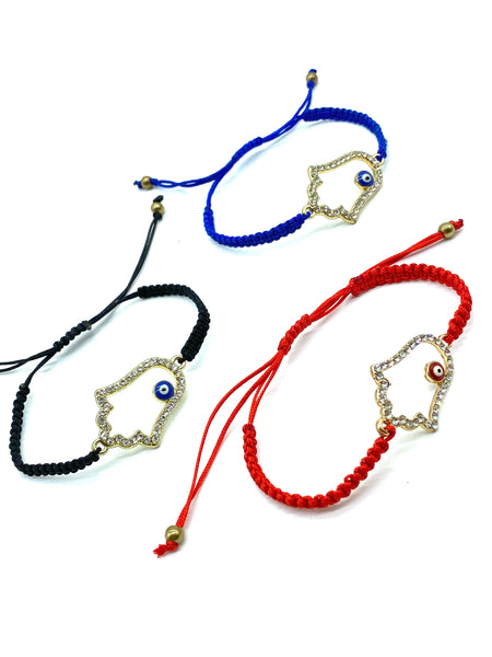 Macrame Evil Eye Hamsa Bracelet (3 Colors)  #2930