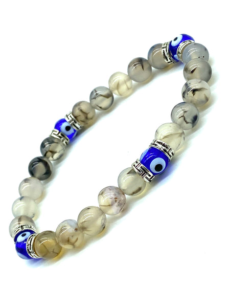 Moonstone Beads, 6mm Round Stretch Evil Eye Bracelet #2297