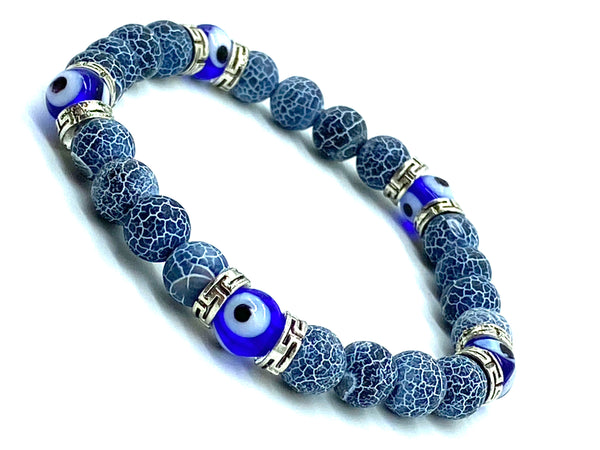 Effloresce Agate  8mm glass evil eye bead #2300
