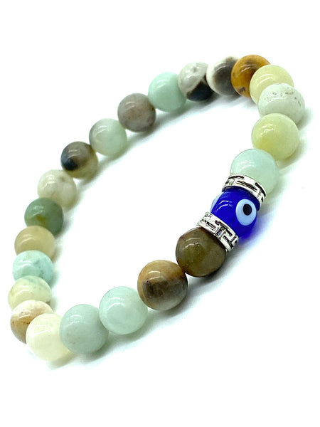 Amazonite Beads  Lucky Eye glass evil eye bead #2299