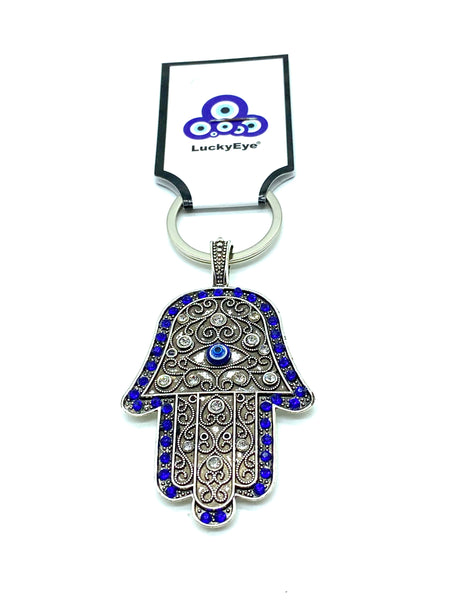 Blue Crystal Evil Eye Hamsa Hand Key chain #1027