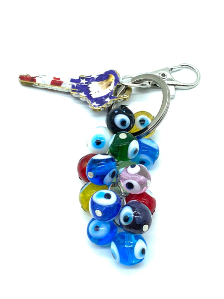 Protection Evil Eye Glass Eye Bead Keychain (3 Variations)  #1258