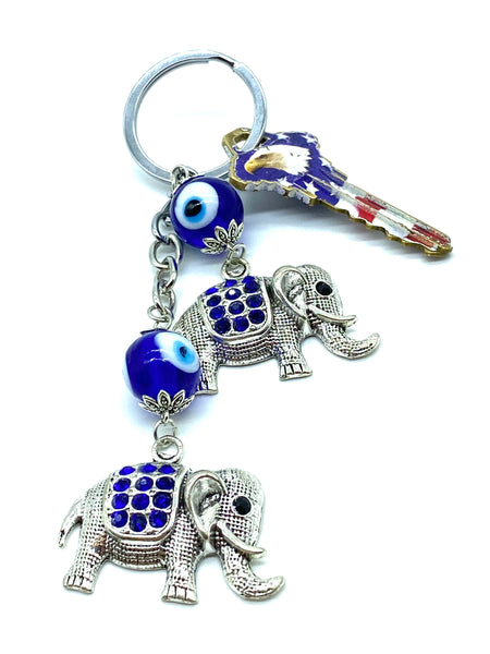 Evil Eye Elephant Key Chain  #1294