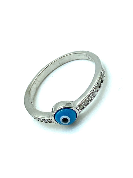 925 Sterling Silver  Hamsa Lucky Eye Ring #8622