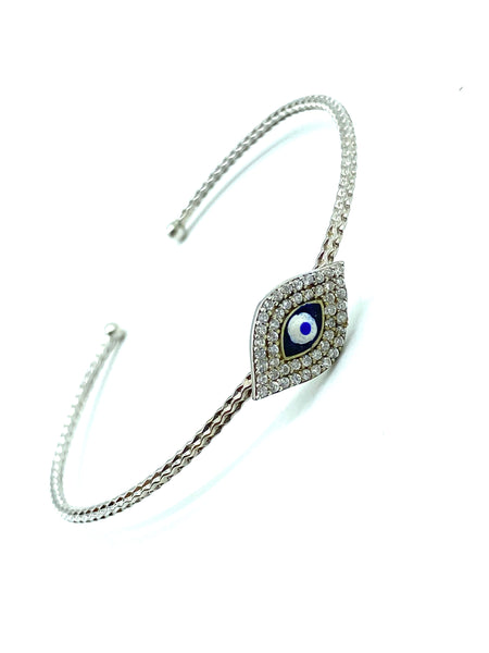 925 Sterling Silver Crystal Bangle Lucky Eye Bangle #9356