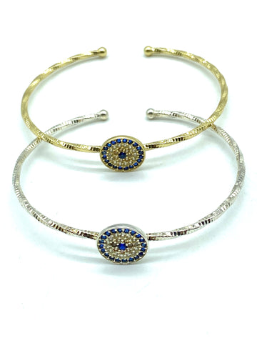 925 Sterling Silver Evil Eye Bangle #9345