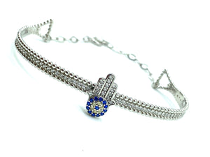 925 Sterling Silver Evil Eye Bangle #9361