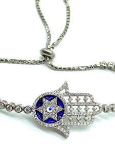 925 Sterling Silver Hamsa Hand Lucky Eye Bracelet Star of David #9396