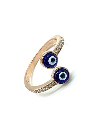 925 Sterling Silver Wrap Around Lucky Eye Ring #8623