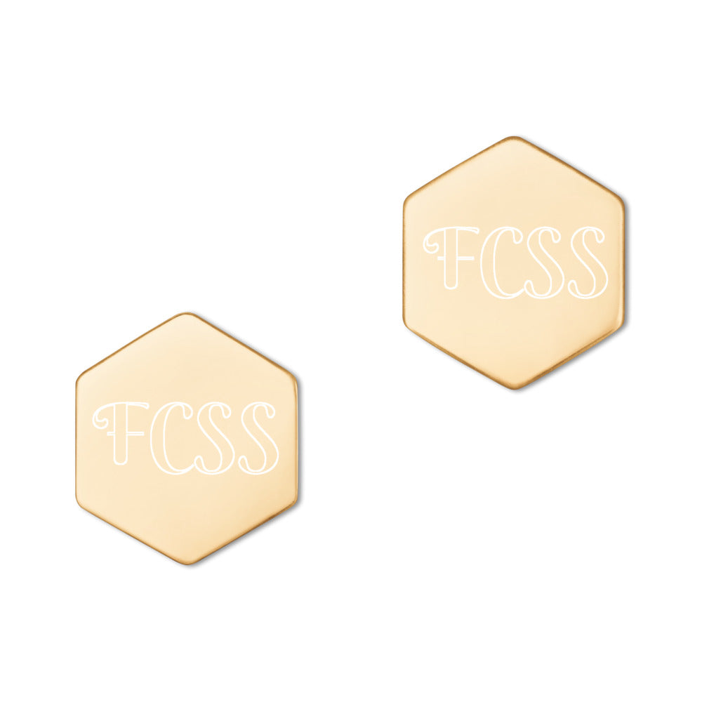 """FCSS"" Custom Sterling Silver Hexagon Stud Earrings"