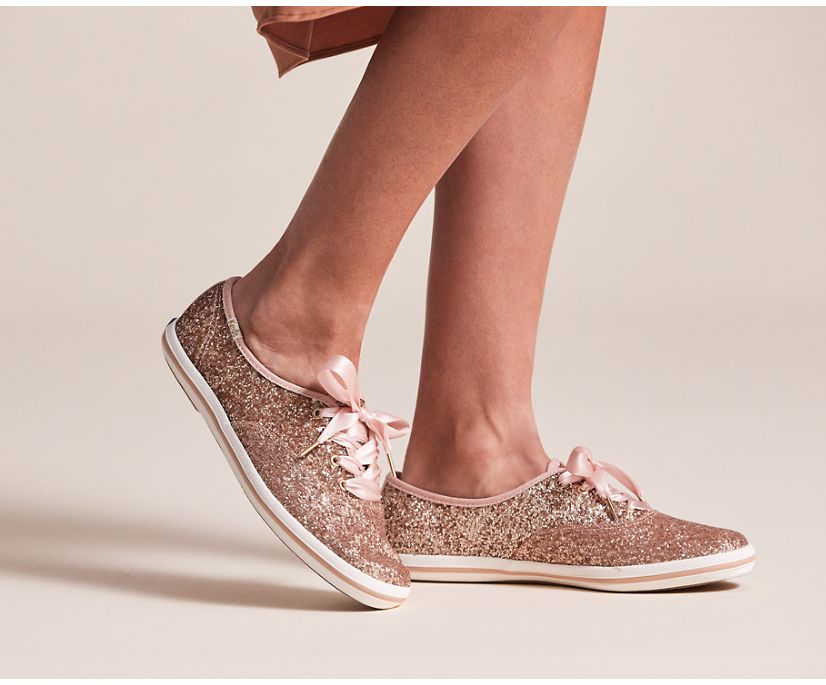 Women's Keds x Kate Spade Champion Glitter Rose Gold