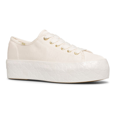 Women's Keds x kate Spade new york Triple Up Faille Logo Foxing Canvas White