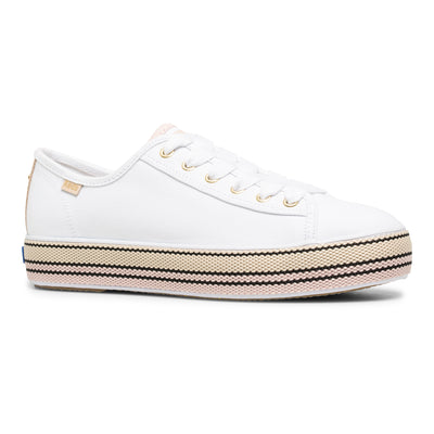 Women's Keds x kate spade Triple Kick Stripe Foxing White