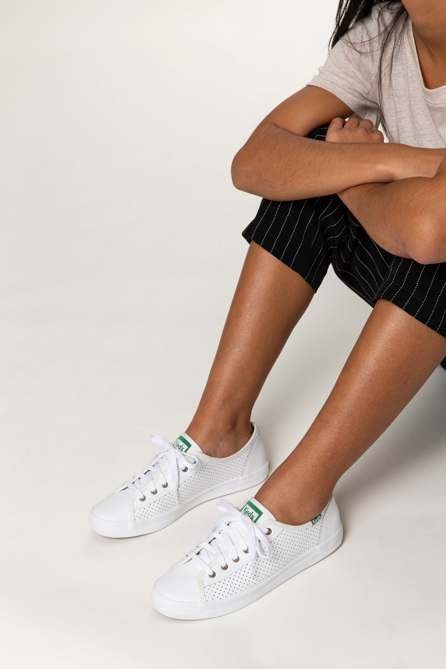 Women's Kickstart Perforated Leather White