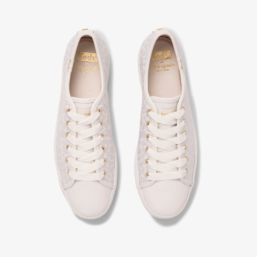 Women's Keds x Kate Spade new york Triple Kick Embroidered Leather leopard White