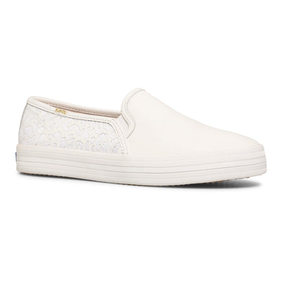 Women's Keds x Kate Spade Double Decker Embroidered Leather Leopard White