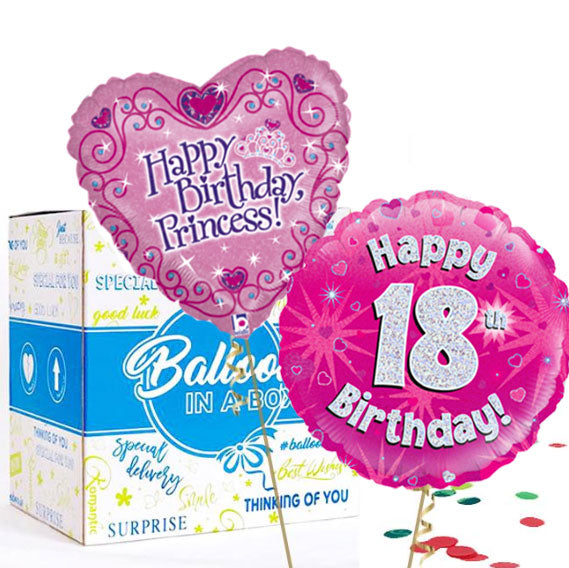 18th Pink Balloon Bundle in a Box