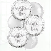 Wite and Silver Christening Day Balloon in a Box