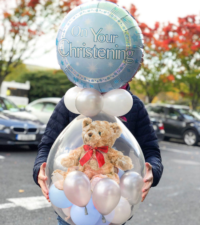 Boy's Christening Stuffed Balloon in a Box