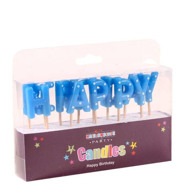 Happy Birthday Candle- Blues