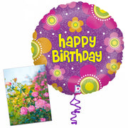 Birthday Flowers Balloon with Card in a Box