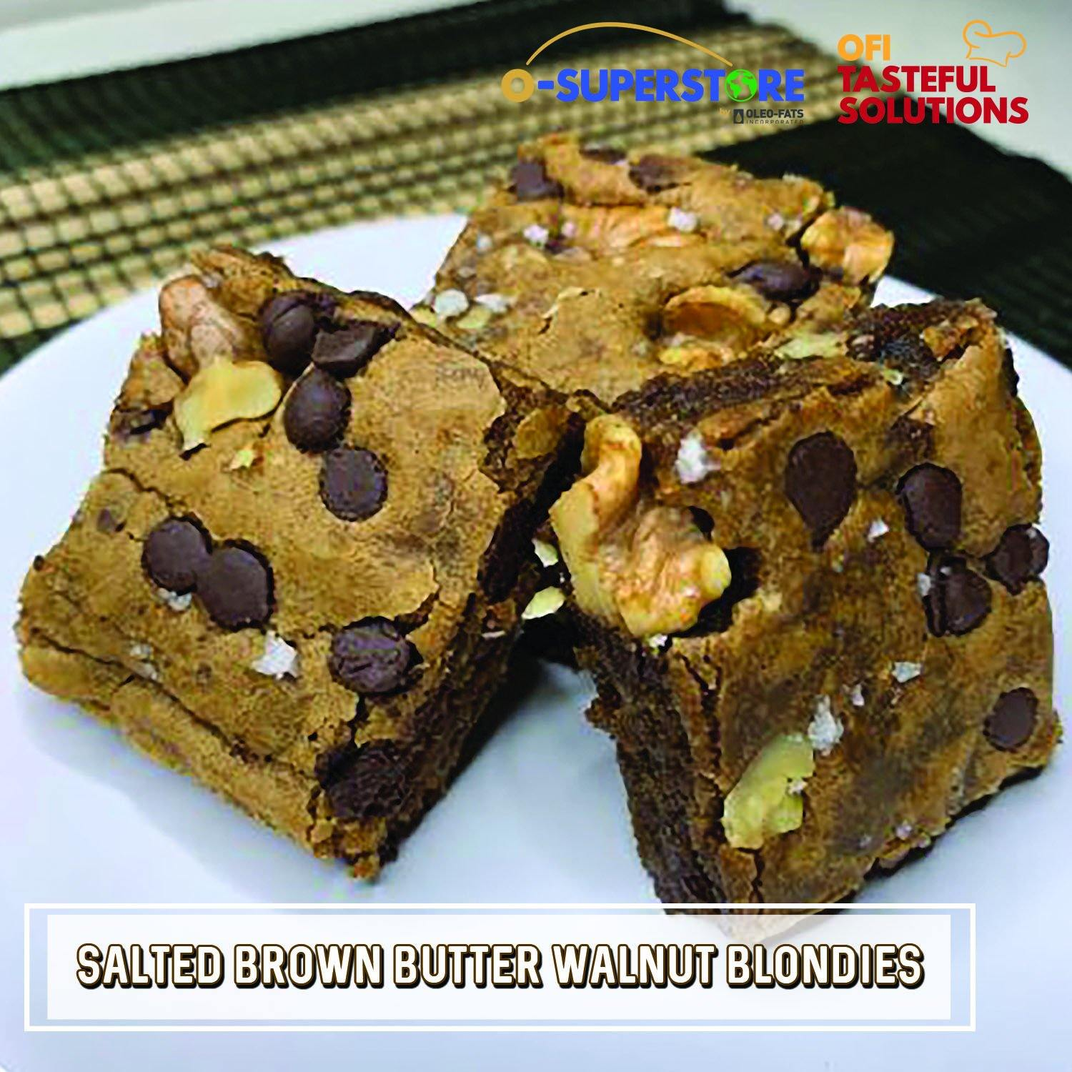Salted Brown Butter Walnut Blondies - O-SUPERSTORE