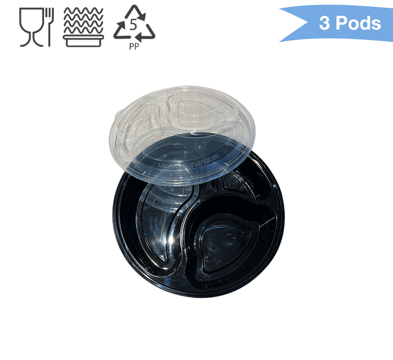 Food Container: Round Container - Three Divisions (Sold by box)
