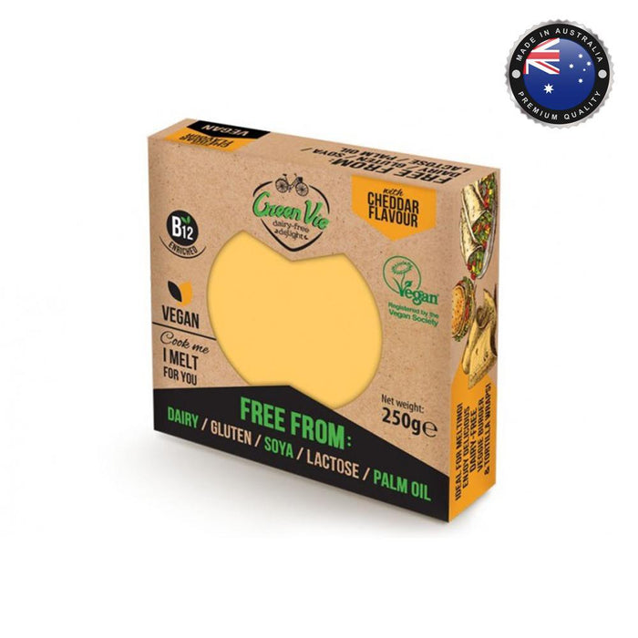 Green Vie Cheddar Flavour Vegan Cheese - Block (250g) - O-SUPERSTORE