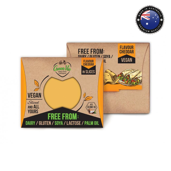 Green Vie Cheddar Flavour Vegan Cheese - Sliced (180g)