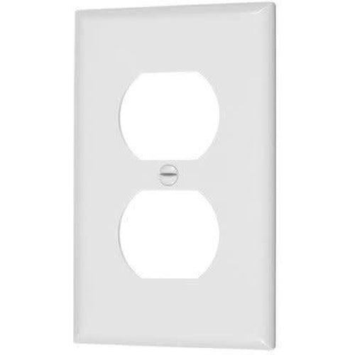SINGLE MID SIZE DUPLEX OUTLET PLATE - WHITE-VISTA-VISTA-Default-Covalin Electrical Supply