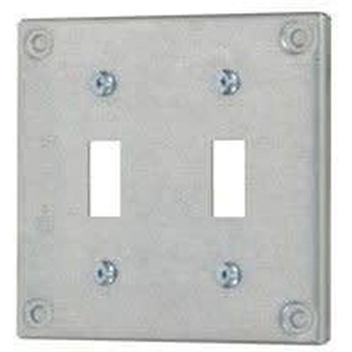 8367 - 4'' SQUARE - DOUBLE TOGGLE COVER - RAISED 3/8''-VISTA-VISTA-Default-Covalin Electrical Supply