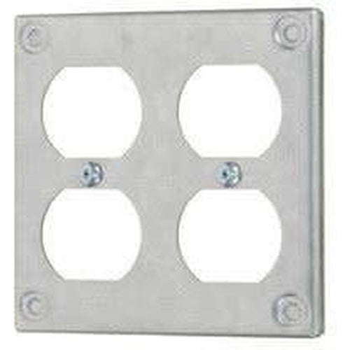 8371 - 4'' SQUARE - DOUBLE DUPLEX OUTLET - RAISED 3/8''-VISTA-VISTA-Default-Covalin Electrical Supply