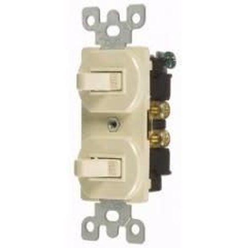 15A COMBINATION DUAL TOGGLE SWITCHES - S.P. - IVORY-VISTA-VISTA-Default-Covalin Electrical Supply