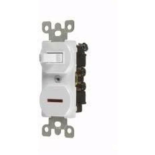 15A COMBINATION TOGGLE SWITCH & PILOT LIGHT - S.P. - WHITE-VISTA-VISTA-Default-Covalin Electrical Supply