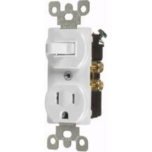 15A COMBINATION TOGGLE SWITCH & OUTLET - S.P. - WHITE-VISTA-VISTA-Default-Covalin Electrical Supply