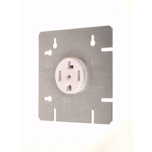DRYER OUTLET W/ 4 11/16'' COVER PLATE - 30A-120/240V - WHITE-VISTA-VISTA-Default-Covalin Electrical Supply