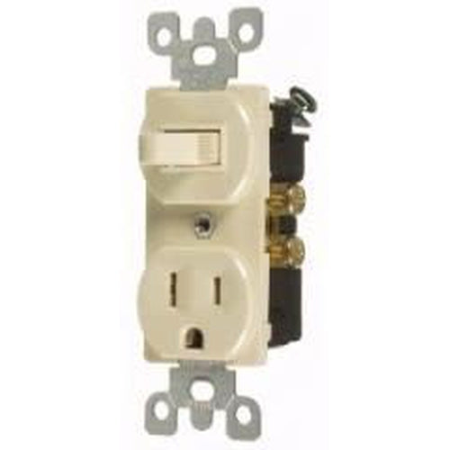 15A COMBINATION TOGGLE SWITCH & OUTLET - S.P. - IVORY-VISTA-VISTA-Default-Covalin Electrical Supply