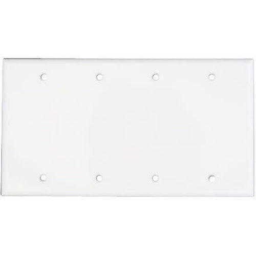 4 GANG BLANK WALL PLATE, WHITE-ORTECH-CROWN DISTRIBUTION-Default-Covalin Electrical Supply