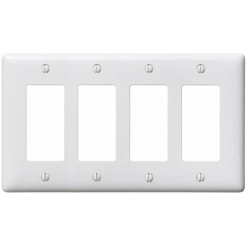 HUBBELL 4 GANG DECORATIVE WALL PLATE WHITE-HUBBELL-VAUGHAN-Default-Covalin Electrical Supply