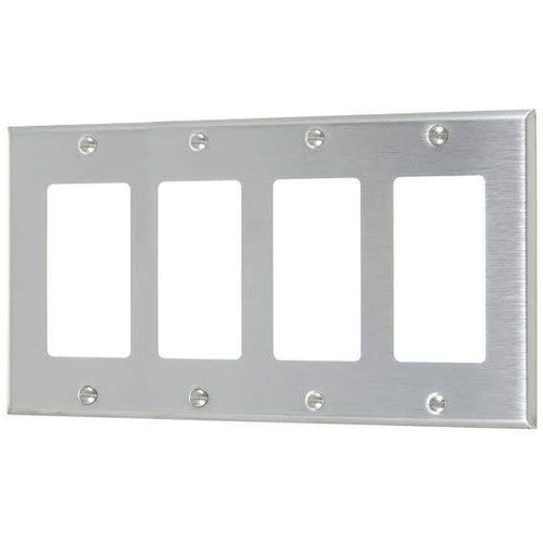 4-GANG DECORATOR PLATE #430 S.S GRADE-VISTA-VISTA-Default-Covalin Electrical Supply