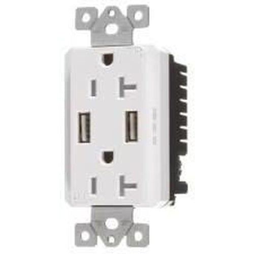 VISTA 20A TAMPER RESISTANT - USB DECORATOR DUPLEX OUTLET - WHITE-VISTA-VISTA-Default-Covalin Electrical Supply