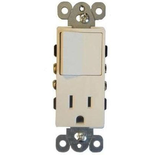 SINGLE POLE ROCKER AND RECEPTACLE, DECORATIVE, WHITE-ORTECH-CROWN DISTRIBUTION-Default-Covalin Electrical Supply