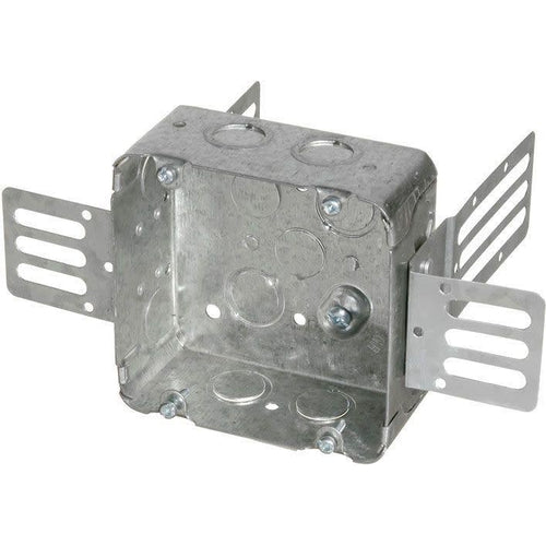 72171-KSSX SQUARE STEEL JUNCTION BOX W/ WRAPAROUND BRACKET 2-1/8''D X 4-11/16''H X 4-11/16''W-ORTECH-CROWN DISTRIBUTION-Default-Covalin Electrical Supply