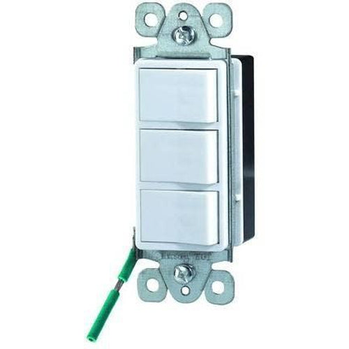 TRIPLE ROCKER SWITCH, SINGLE POLE, DECORATIVE-ORTECH-CROWN DISTRIBUTION-Default-Covalin Electrical Supply