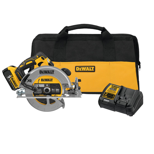 "*KIT* 20V MAX XR 7-1/4"" CIRCULAR SAW (5.0AH) W/ 1 BATTERY AND BAG"